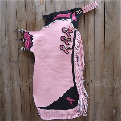 Ch861-F Hilason Western Pink Leather Breast Cancer Pro Rodeo Bull Riding Chaps