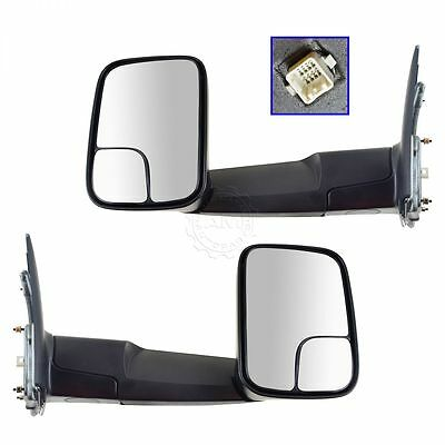 Side View Mirror Power Heated Towing Flip Up Extending Pair Set for Ram Truck