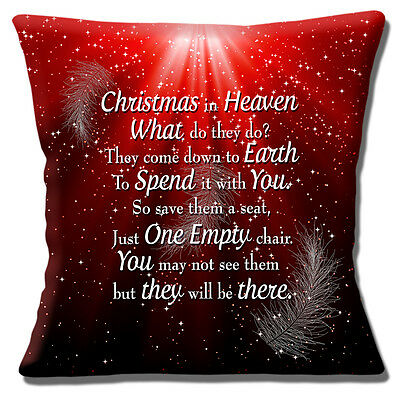 """CHRISTMAS IN HEAVEN THEY COME DOWN TO EARTH SHARE RED 16"""" Pillow Cushion Cover"""