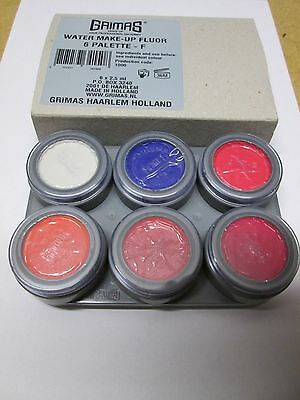 UV / Fluorescent Grimas Professional Face paint / Water Make Up 6 Way Palette