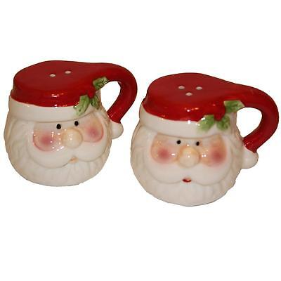 Christmas Novelty Salt and Pepper Set with Handles - Santa Face