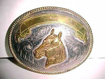 Vintage Alpaca Silver & Brass Mexico Horse Head Rodeo Belt Buckle