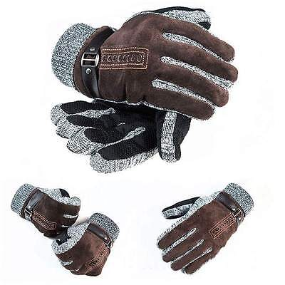Mens Winter Warm Gloves Leather Thicken Cotton Windproof Driving Mittens New