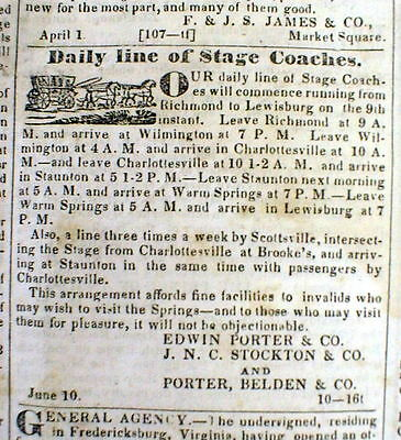 1834 Richmond VIRGINIA newspaper w illustrated ad for Southern STAGE COACH route