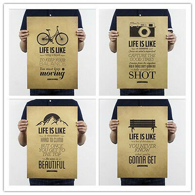 """""""LIFE IS LIKE"""" Creative Wall Chart Home Office Cafe Bar Decor Paper Retro Poster"""