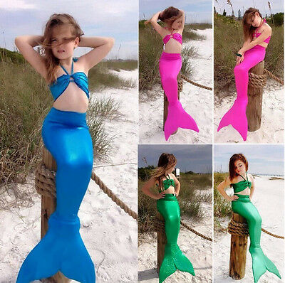 Girls Gilding Mermaid Tail Cosplay Costume Swimmable Swimming Swimsuit