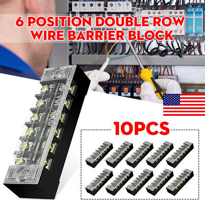 10x 6 Position Block/Strip Dual Row Wire Barrier Screw Terminal Panel Connect
