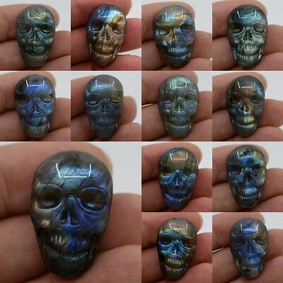 28-29mm Carved natural stone labradorite skull cab cabochon *each one picture*