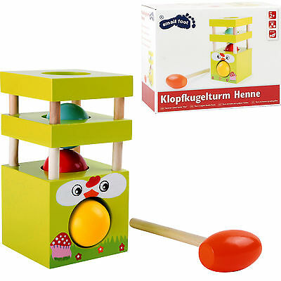 Knock Ball Tower Hen Wood Children Motor Skills Game Tapping Hammer Toy