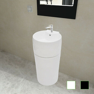 Ceramic Stand Bathroom Sink Water Basin Faucet/Overflow Hole Round Black/White