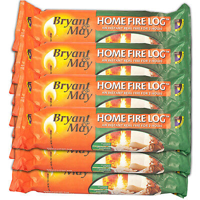 Bryant & May Instant Lighting Smokeless Firelogs. 2 Hour Burn Time 100% Natural