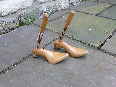 Pair Vintage Wooden Shoe stretchers. Adjustable. Quirky loo roll holders!!