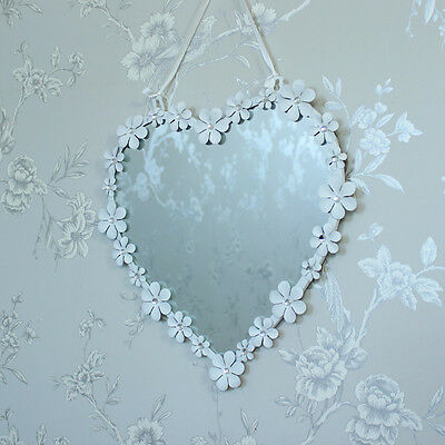 White metal daisy heart wall mirror shabby ornate chic girls pretty bedroom hall