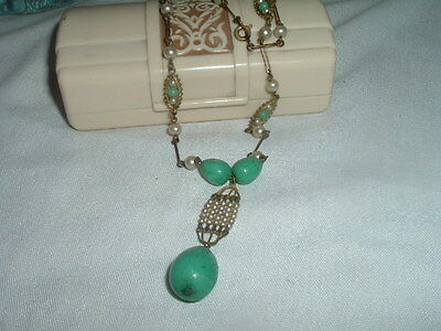 Vintage Estate Art Deco Green Jade And Seed Pearl Drop Necklace In Gift Box