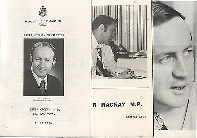 3 Old 1976 Canada Political Elmer Mackay MP Newsletters