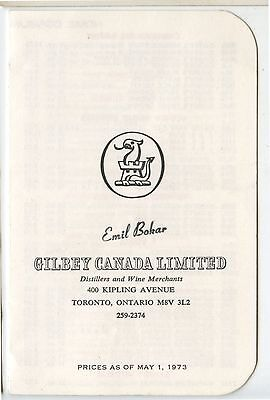 Old 1973 Gilbey Canada Limited Distillers Wine Merchants Price List