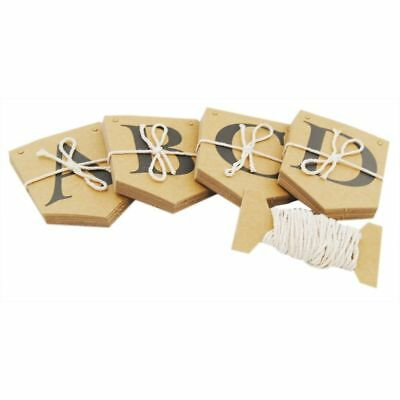 NEW ALPHABET BUNTING KIT PERSONALISE CREATE YOUR OWN 75 CARDS & STRING BROWN sil