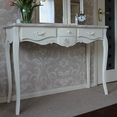 Cream Wooden Console Dressing Table 3 Drawers Shabby French Chic Bedroom Hallway
