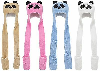 Children Kids Panda Hat Gloves Scarf Animal Mittens Girls Boys Cute Hats UK New