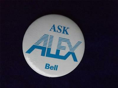 Bell Telephone Advertising Promo Ask Alex Vintage Button Pin Back