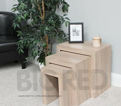 Chunky Modern Solid Wood Nest Tables | Natural Oak Effect Finish