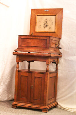 Antique Oak Regina Music Box Double Combs Several Discs & Oak Storage Cabinet