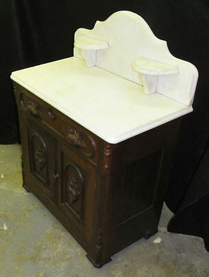 Antique Victorian Walnut Marble top Wash Stand Commode