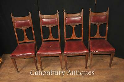 Set 4 Antique Art Nouveau Dining Chairs 1890 Arts and Craft Oak Carved