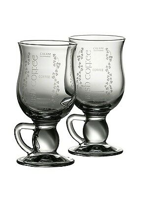 Galway Crystal Irish Coffee Glasses PAIR. with Instructions. NEW Boxed Ireland