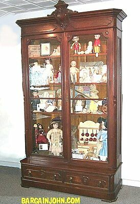 Antique Victorian Bookcase Double Door Bookcase