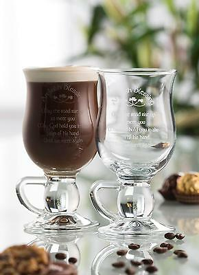 Galway Crystal Irish Blessing Latte Glasses (Pair) NEW Boxed Ireland