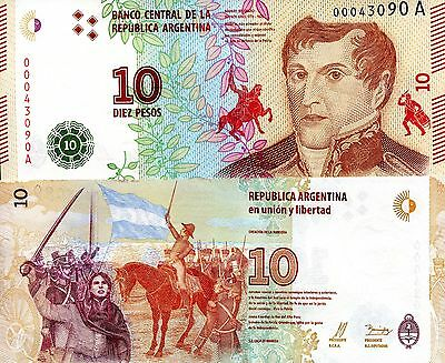 ARGENTINA 10 Pesos Banknote World Paper Money UNC Currency Pick NEW 2016 Bill