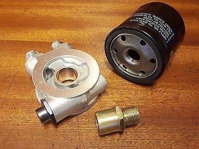 """Oil Cooler Filter Sandwich Plate + Thermostat An10 Fittings 3/4"""" 16-Unf + Filter"""