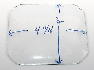 """NOS EIGHT SIDED 4 11/16"""" x  4"""" CONVEX REPLACEMENT CLOCK GLASS  ST114"""
