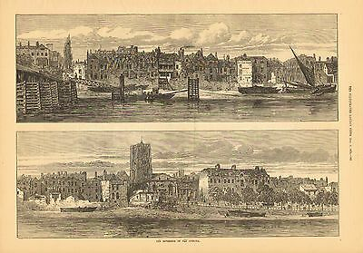 The Riverside Of Old Chelsea, England City View, Vintage, 1872 Antique Art Print