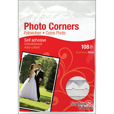 """Scrapbook Adhesives Paper Photo Corners Self-Adhesive 108/Pk-White, Set Of 4"""