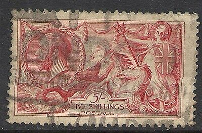 GREAT BRITAIN:  SCOTT 180 USED VF - 1919 5sh CARMINE ROSE -  KING GEORGE V ISSUE
