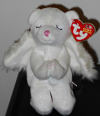 Ty Beanie Baby ~ BLESSED the Angel Bear ~ with CREASED TAGS ~ RETIRED