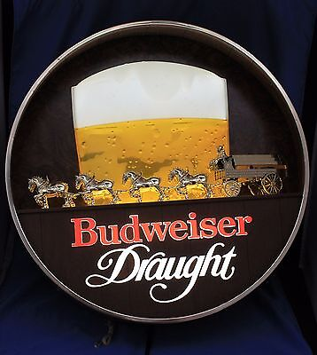 Old Budweiser Clydesdale Light-up Sign beer bar pub