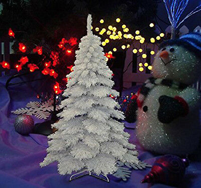 HOMCOM 6.9FT Flocked Christmas Tree Winter Holiday Decor Hooked Branches Stand