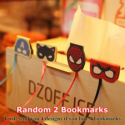 2pcs Paper Magnetic Bookmark Book Mark Batman Catwoman Captain America Spiderman