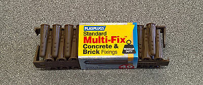 Plasplugs Standard Multi-Fix Concrete & Brick Fixings Wall Plugs Ideal for DIY