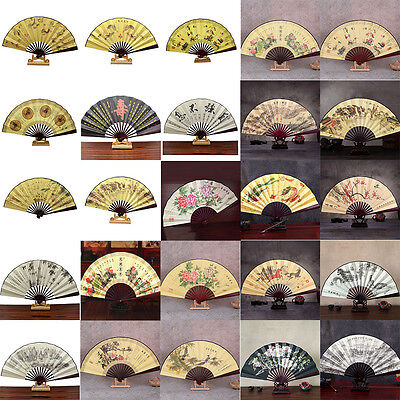 1x Chinese Japanese Silk Folding Hand Held Pocket Fan Party Dance FG