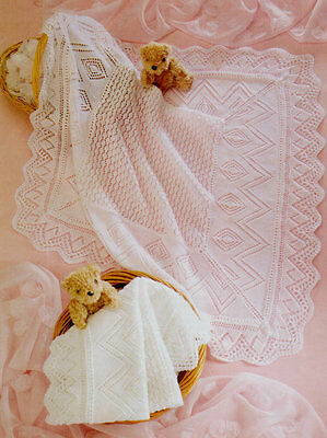 """Baby Shawl Broad Lace Border Ideal Christening 36""""x 36"""" 3/4 Ply Knitting Pattern"""
