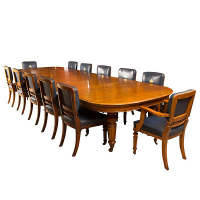 Antique Victorian Oak Dining Table & 12 Chairs c.1870