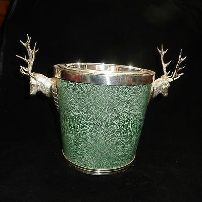Antique Silver-Plate Stag Head & Shagreen Champage Ice Bucket