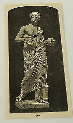 1887 magazine engraving ~ statue of URANIA ~ muse of astronomy
