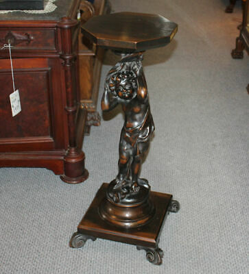 Antique Mahogany Caved Figural Pedestal Stand – Karpen Furniture Company of Chic