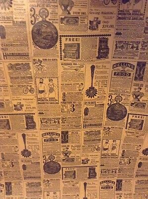 Vintage Wrapping Paper Newspaper Print Gift Wrap - 2 YARDS