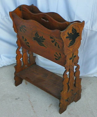 Antique Victorian Walnut Canterbury Magazine Holder carved dove